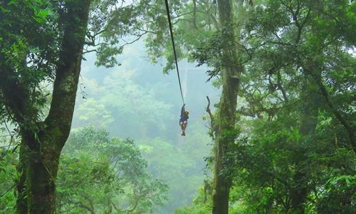 Hombre haciendo el tour de Canopy en Boquete