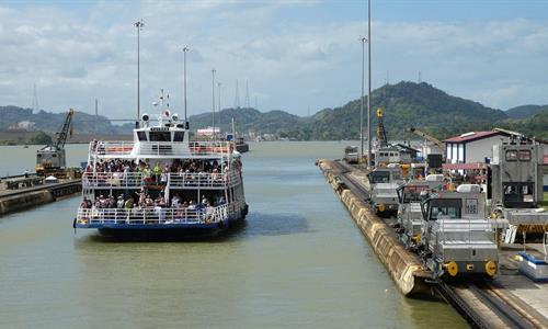 Ship cruising through the Panama Canal