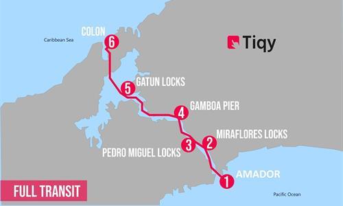 Full Panama Canal Northbound Transit Tour Map
