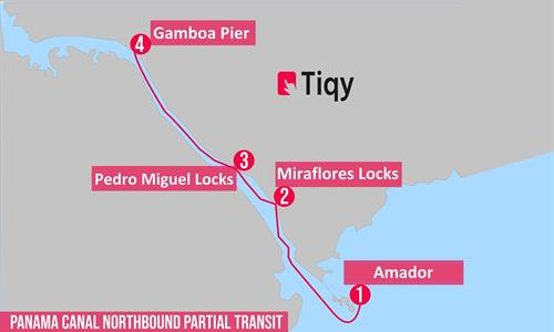 Northbound Partial Panama Canal Transit Tour Map