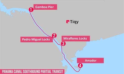 Southbound Partial Panama Canal Transit Tour Map