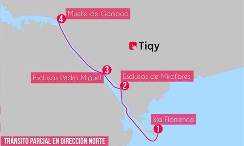 Mapa del Tour Parcial de Tránsito en Dirección Norte por el Canal de Panamá