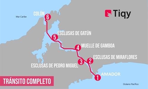 Mapa del Tránsito Completo en Dirección Norte por el Canal de Panamá