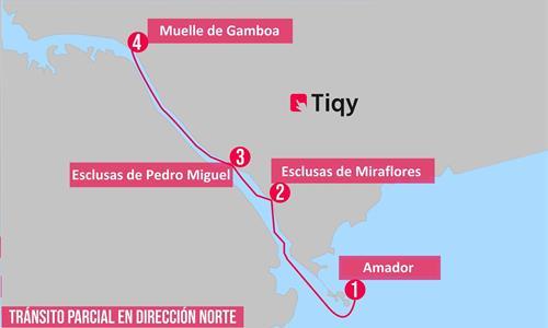 Mapa del Tour Parcial de Tránsito Norte por el Canal de Panamá