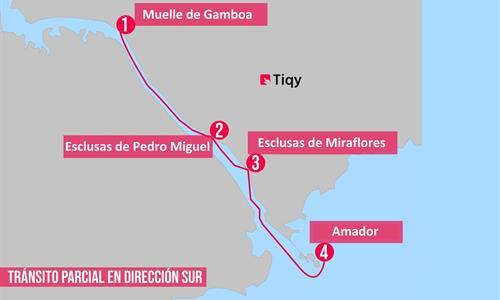 Mapa del Tour Parcial de Tránsito Sur por el Canal de Panamá
