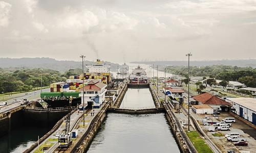 View of the Panama Canal from a Ship