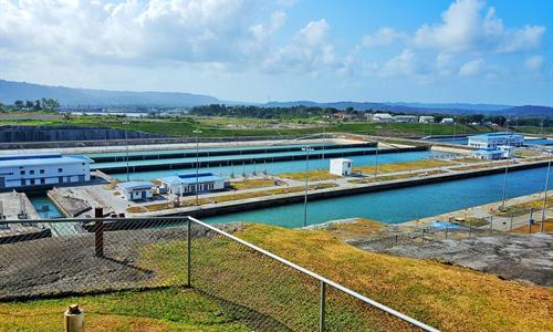 View of the New Locks from the Agua Clara Visitors Center