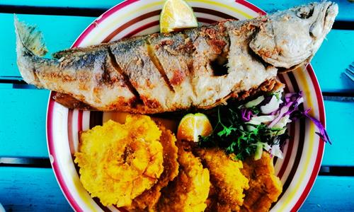 Deep Friend Fish with Green Plantains in Veracruz Beach