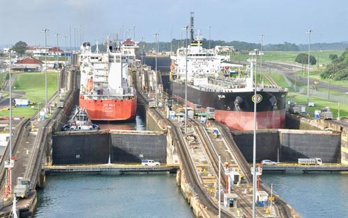 the ships passing by the Panama Canal in Miraflores Visitor Center