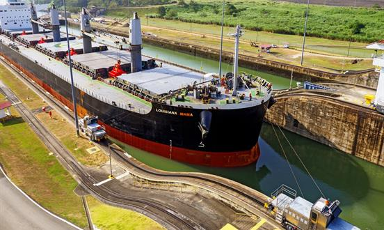 A ship making the transit through the Panama Canal