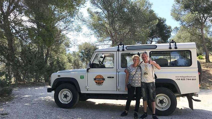 happy couple enjoying the tour in 4x4 - tiqy, 4X4 Adventure in Valle del Guadalhore