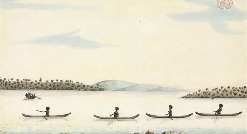 Anciente to Early Sydney draw woman in canoes, Ancient to Early Sydney