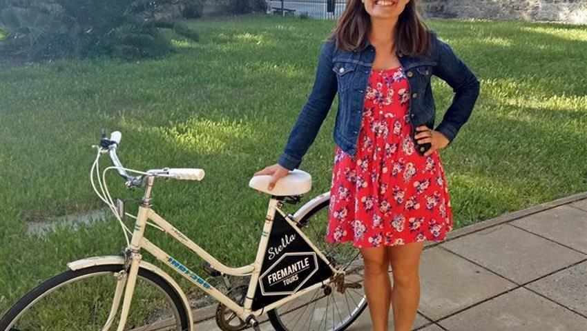 woman and bike tiqy, Bike City Tour in Fremantle