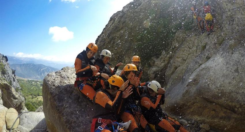 Cayoning in the pyreness from barcelona group, Canyoning Adventure in the Pyrenees from Barcelona
