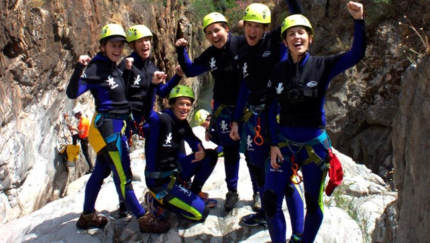 Group of friend before descent - tiqy, Descent of Ravines in Malaga