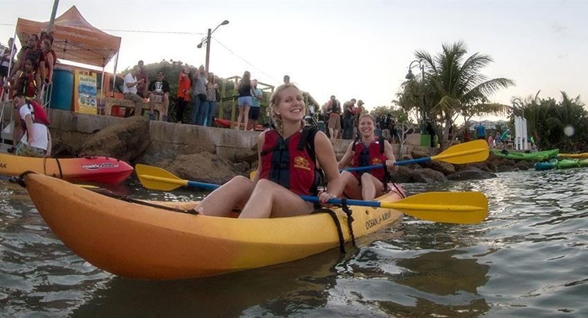 rainforest and bio bay combo girl kayakers, El Yunque Rainforest And Kayaking Combo Tour