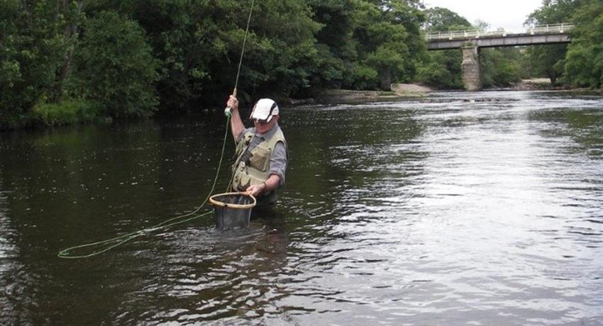 Stuart teaching how to fish - tiqy, Fish for Trout on the River Swale