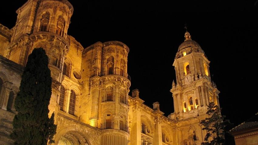 Tha Cathedral of Malaga at night - tiqy, Flamenco y Tour de Tapas de Noche