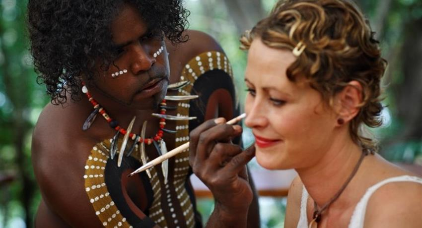 Kuranda All Inclusive park Tjapukai Paint face, Kuranda All Inclusive
