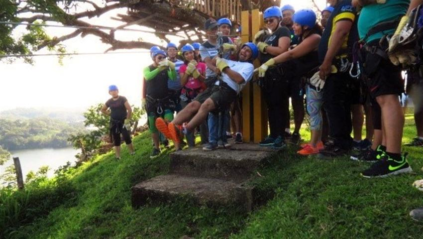 Big group cheering to do canopy - tiqy, Gatun Lake Canopy Zip Line Tour