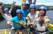 Happy group of friends before canopy - tiqy, Tour de Canopy en el Lago Gatún