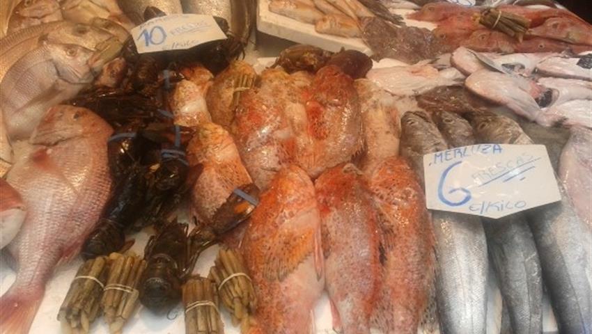 fresh sea food and fishes - tiqy, Tour de Mercado y Tapas Gourmet