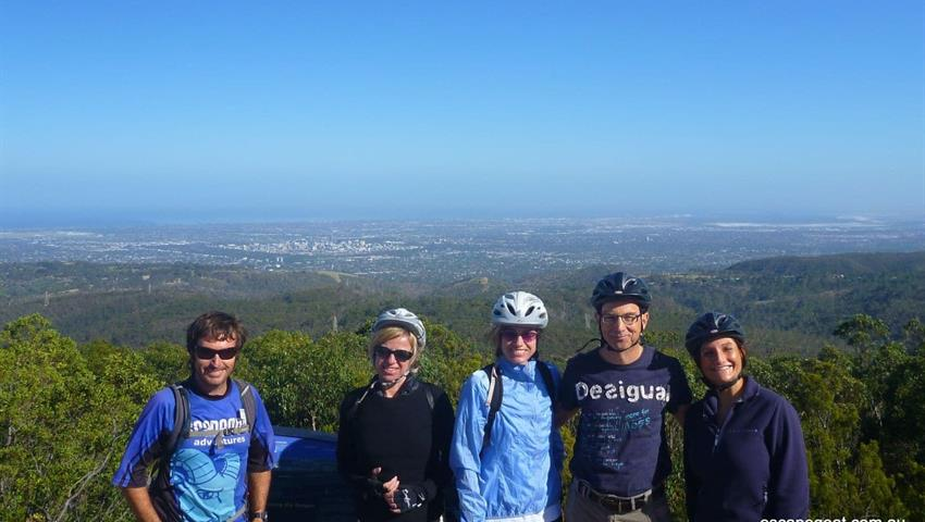 Mount Lofty Downhill Bike trip people and view, Mount Lofty Downhill Bike Trip