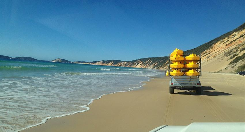 beach drive tiqy, Recorrido de Noosa hasta Rainbow Beach