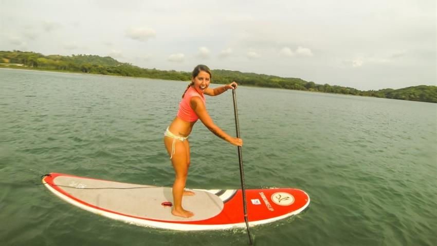 Enjoying, Stand Up Paddle Board Lessons In Playa Venao