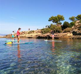 Stand Up Paddle Tour in Cala Brava Caves