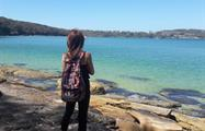Sydney Coast Hike to Manly Beach girl, Sydney Coast Hike to Manly