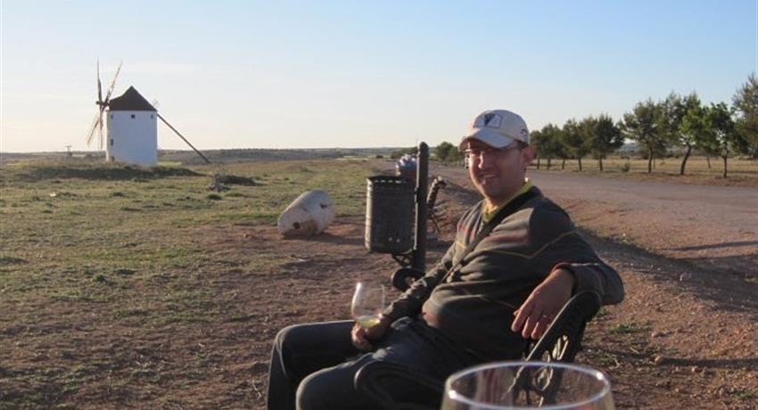 old man enjoying wine - tiqy, Windmills of Don Quixote Wine Tour