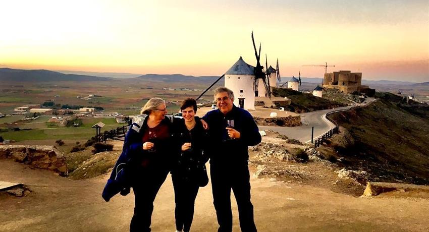happy family in the wine tour - tiqy, Windmills of Don Quixote Wine Tour